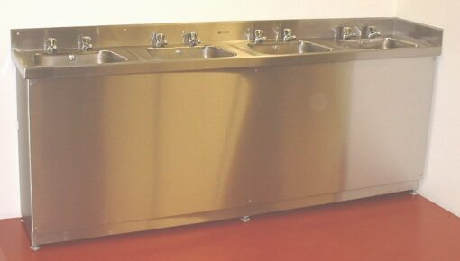 4 person pharmaceutical hand wash sink with fully valance removabe front valance.