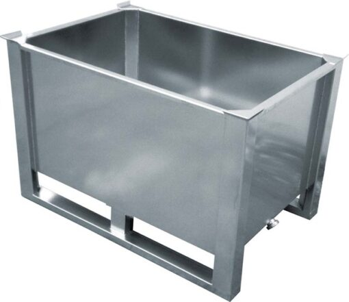 600 Litre Electro polished tank with stacking corners and folk skids