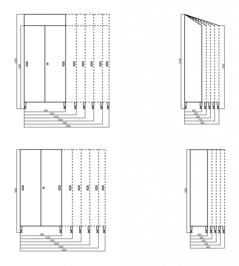 Dimentions for sliding door cupboards