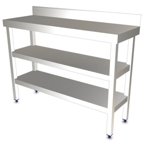 wall stainless steel tables with under shelf