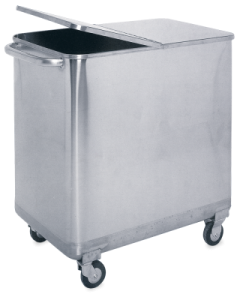 STAINLESS STEEL MOBILE WASTE BIN WITH LID