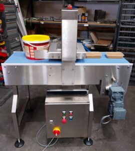 Automatic Food Container Conveyor Automatic lid clipping unit Blue main belt 300mm wide, modular up to 1000mm long Grip face modular belt Main frame all stainless steel