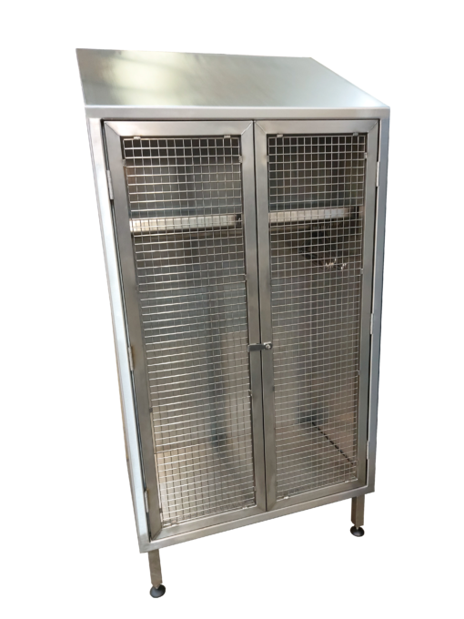 Garment cabinets with vision panels and hangers